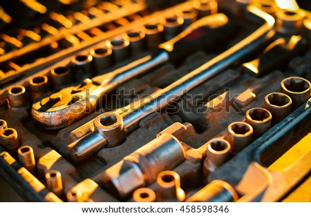 repair tool set of keys and other tools - stock photo
