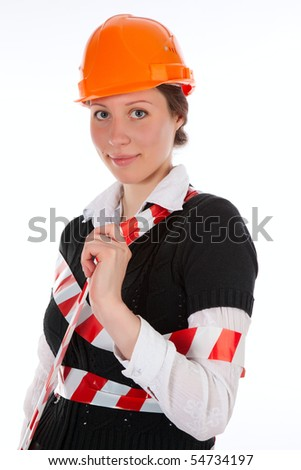 repair woman over white - stock photo