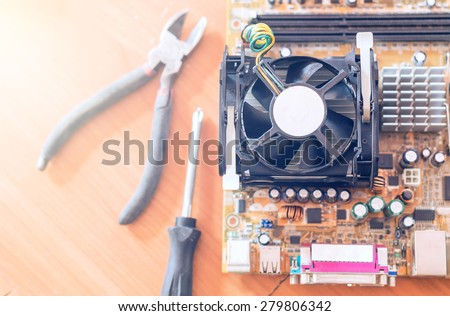 Repairing a computer - stock photo