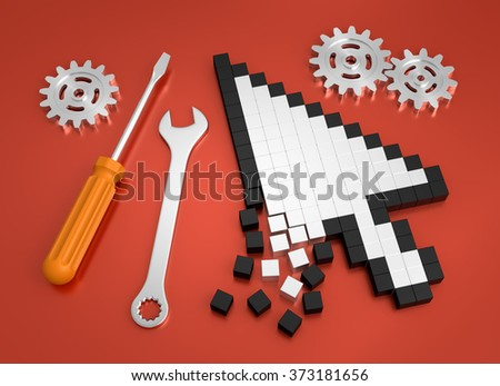 Repairing Computer Crash. Composition on the subject of 'Computer Technical Service'. 3D rendered graphics on red background. - stock photo