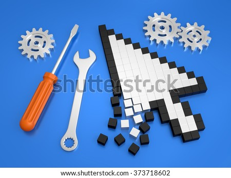 Repairing Computer Crash. Composition on the subject of 'Computer Technical Service'. 3D rendered graphics on blue background. - stock photo