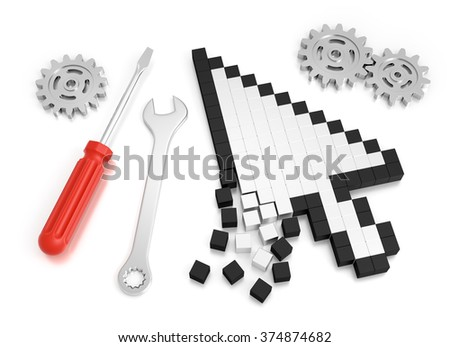 Repairing Computer Crash. Composition on the subject of 'Computer Technical Service'. 3D rendered graphics on white background. - stock photo