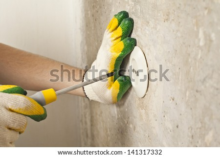 repairing electrical outlet   Assembly electrical outlet - stock photo