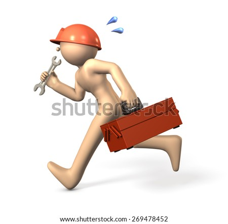 Repairman which runs with a wrench.isolated,computer generated image - stock photo