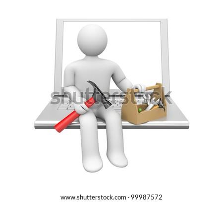 Repairman with notebook - stock photo