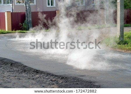 Repairs of the road - stock photo
