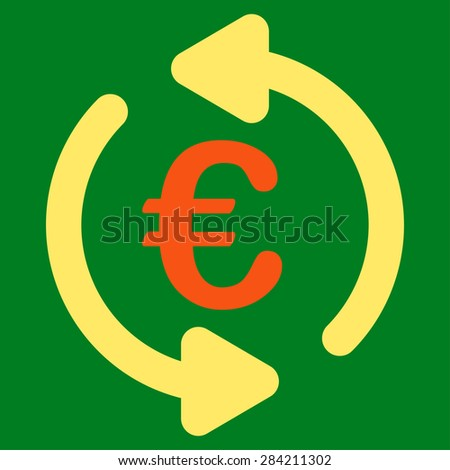 Repeat from BiColor Euro Banking Icon Set. Glyph style: flat bicolor, orange and yellow symbol, rounded angles, green background.