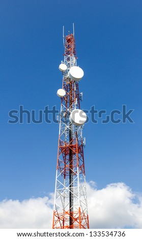 Repeater stations or Telecommunications tower  in a day of clear blue sky.