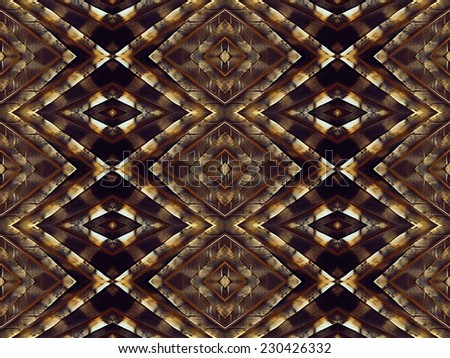 Repeating diamond pattern made from bird feathers - stock photo