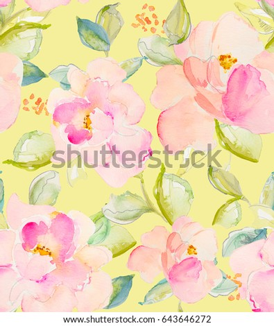 Repeating flower pattern pink yellow flowers stock illustration repeating flower pattern with pink and yellow flowers and leaves mightylinksfo