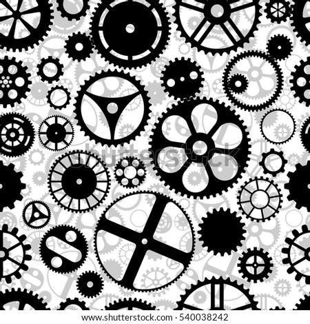 Repeating gear wheels silhouette background. Wallpaper that repeats left, right, up and down