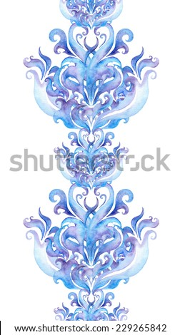 Repeating winter border frame. Watercolor decorative ornamental stripe with scrolls and curves - stock photo