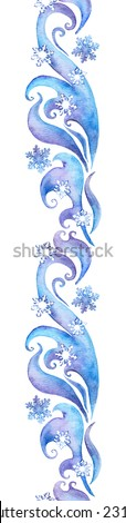 Repeating winter border frame. Watercolour decorative ornamental strip with scrolls and curves  - stock photo