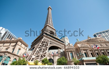 Replica Eiffel Tower in Las Vegas with clear blue sky - stock photo