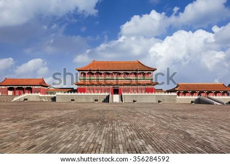 Replica of Forbidden City pavilion, Hengdian, China - stock photo