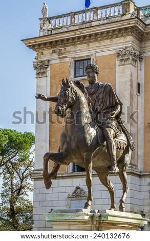Replica of the equestrian statue of Marcus Aurelius on Capitoline Hill, Rome, Italy - stock photo