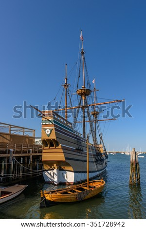 Replica of the Mayflower in Plymouth, Massachusetts - stock photo