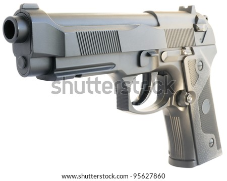 Replica steel handgun isometric view isolated on the white - stock photo