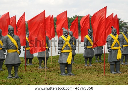 Replica Terracotta Warriors With Red Flags - stock photo