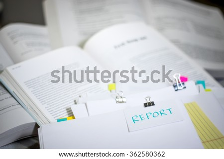 Report; Stack of Documents with Large Amount of Reading Material. - stock photo