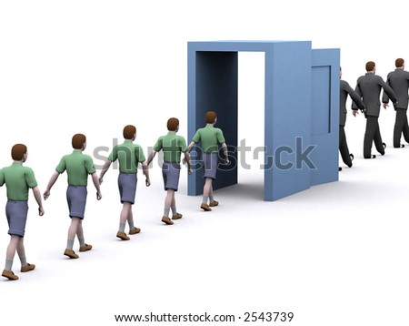 representation of children growing and learning through the door of life
