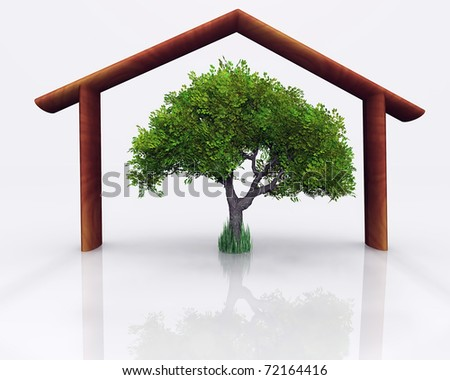Representation of the concept of environmental and economic home - stock photo