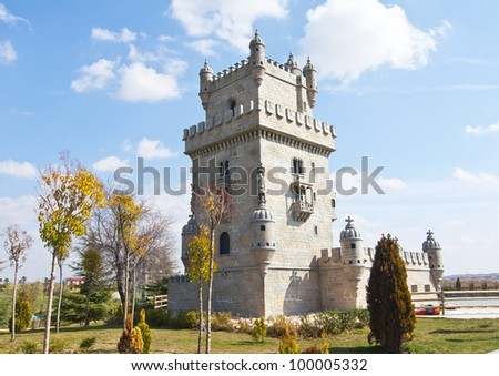 Representation of the monument Tower of Belem, Portugal - stock photo
