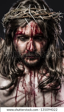 representation of the passion of Jesus Christ. Calvary and religion concept - stock photo