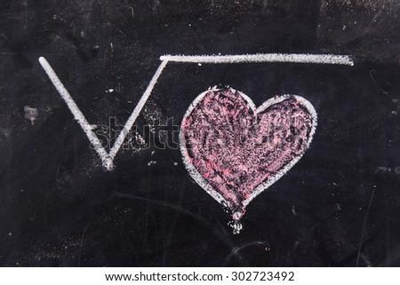 Representation with chalk on the blackboard of calculations rappresentani love - stock photo
