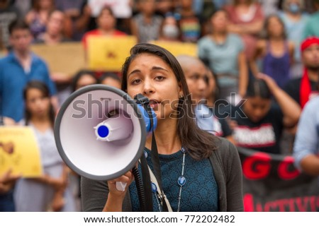 Representative from district's democratic senators speak at a rally to protest president Donald Trump's decision to end DACA in Downtown Portland, Oregon, on September 5th, 2017.