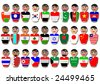 Representative people from Asia countries dressed in their national flags - stock photo