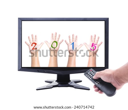 Represents the new year. Human hand holding remote and monitor display human hand with numerals on the palms forming number 2015. - stock photo