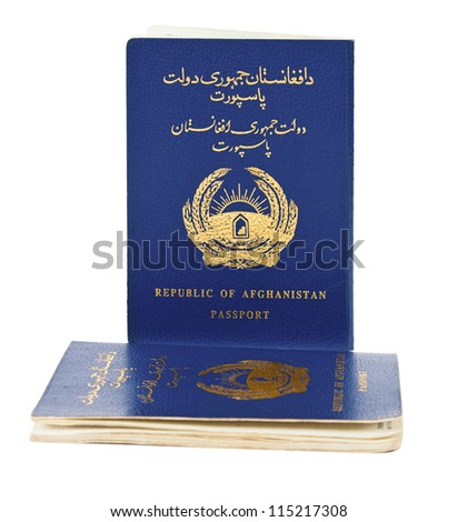 Republic of Afghanistan Passport isolated on white