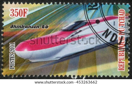 "REPUBLIC OF CHAD - CIRCA 2011: A stamp printed by Republic of Chad shows the a series of images ""History of rail transport"",circa 2011 - stock photo"