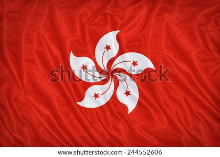 Republic of China(Hong Kong) flag pattern on the fabric texture ,vintage style - stock photo