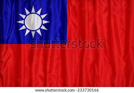 Republic of China(Taiwan) flag pattern on the fabric texture , vintage style - stock photo
