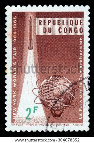Republic of Congo - CIRCA 1965: stamp printed by Republic of Congo, shows emblem of the international exhibition at New York 1964-1965, circa 1965 - stock photo