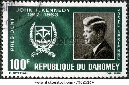 REPUBLIC OF DAHOMEY - CIRCA 1965: A stamp printed in Republic of Dahomey shows President John F. Kennedy (1917-1963), circa 1965 - stock photo