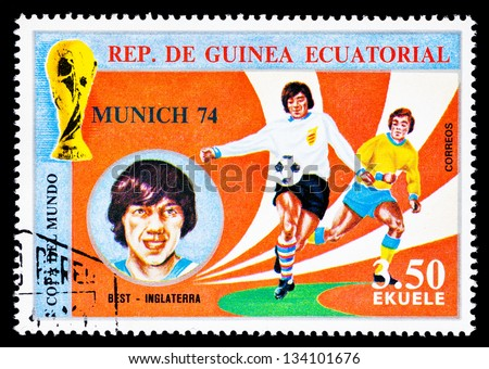 REPUBLIC OF EQUATORIAL GUINEA - CIRCA 1974: A stamp printed in the Republic of Equatorial Guinea shows football player (World Cup : Munich, Germany) and portrait Best (England), circa 1974. - stock photo