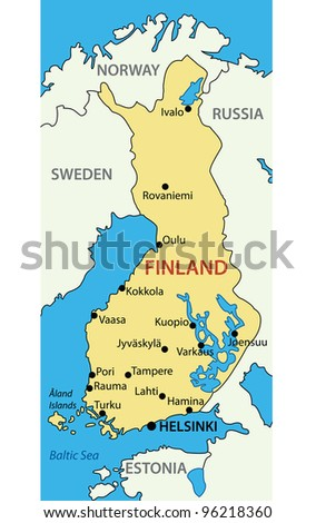 Republic of Finland -  map - stock photo