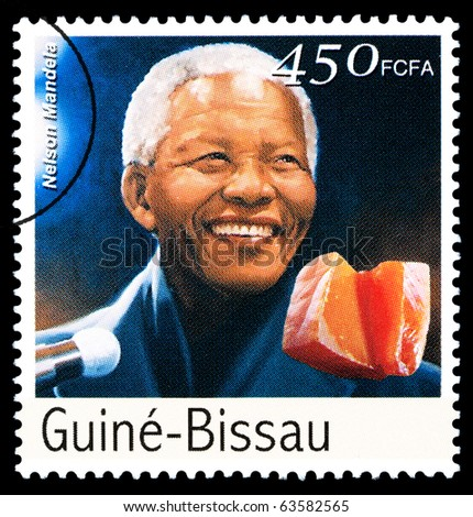 REPUBLIC OF GUINEA-BISSAU - CIRCA 2000: A postage stamp printed in the Republic of Guinea-Bissau showing Nelson Mandela, circa 2000 - stock photo