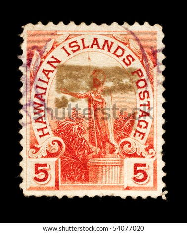 REPUBLIC OF HAWAII - CIRCA 1893- 1894: a postage stamp depicting a statue of King Kamehameha, circa 1893 - 1994 - stock photo