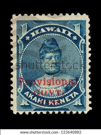 REPUBLIC OF HAWAII - CIRCA 1893- 1894: Postage stamp from the Republic of Hawaii, with the Provisional Govt. overprint, depicting Princess Likelike, used between circa 1893 - 1894. - stock photo