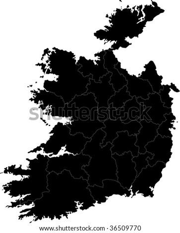 Republic of Ireland map with region borders - stock photo