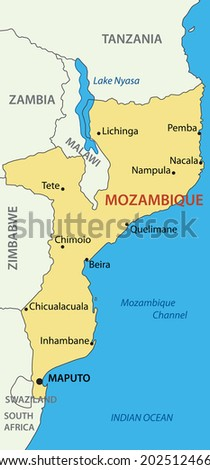 Republic of Mozambique - map - stock photo