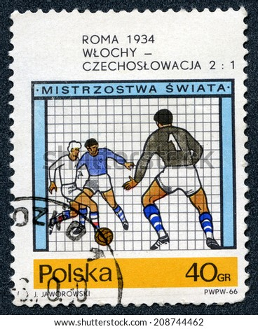 Republic of Poland - CIRCA 1966: A stamp printed in Republic of Poland shows for World Cup Soccer Championships in Rome, 1934  - stock photo
