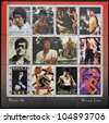 REPUBLIC OF SAKHA (YAKUTIA) - CIRCA 2000: A stamp printed in Yakutia shows Bruce Lee in 12 stamp views of a great star of Martial Arts scenes from many of his most famous movies, circa 2000 - stock photo