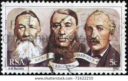 REPUBLIC OF SOUTH AFRICA - CIRCA 1990: A stamp printed in Republic of South Africa shows Jobert, Kruger, Pretorius, circa 1990
