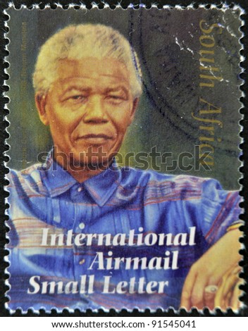 REPUBLIC OF SOUTH AFRICA - CIRCA 2008: A stamp printed in RSA shows Nelson Mandela, circa 2008 - stock photo