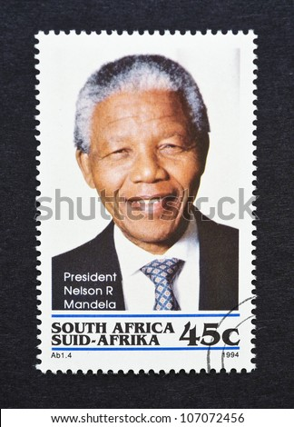 REPUBLIC OF SOUTH AFRICA - CIRCA 1994: postage stamp printed in Republic of South Africa showing an image of Nelson Mandela, circa 1994.